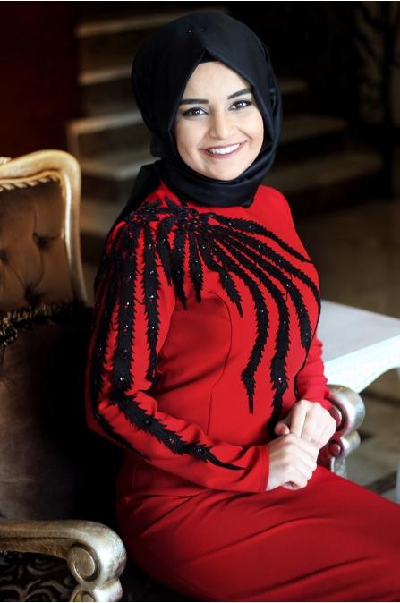 Sümay - Kırmızı Esil Abiye Elbise