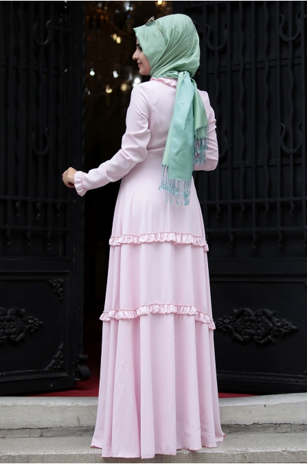 Sümay - Defne Elbise - Pudra