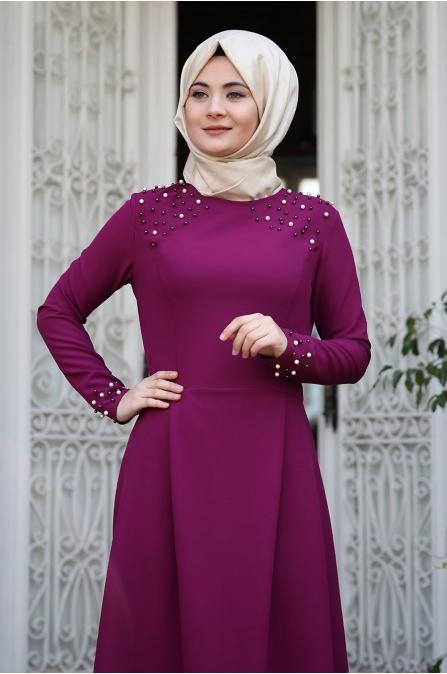 Omuz Taşlı Elbise - Mürdüm - Sümay