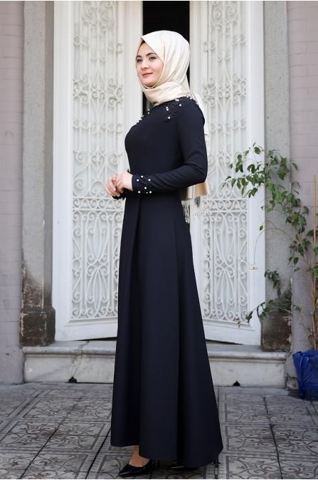 Omuz Taşlı Elbise - Siyah - Sümay