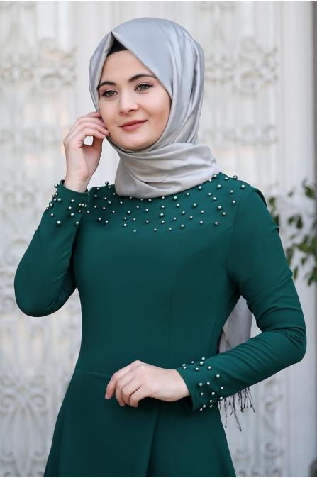 Omuz Taşlı Elbise - Zümrüt - Sümay