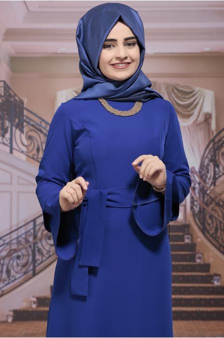 Rana Mavi Elbise - Sümay Moda