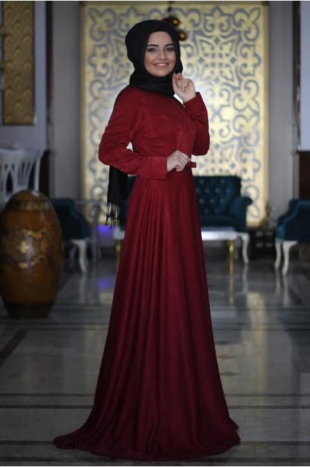 Sümay - Bordo Kadife Tesettür Elbise