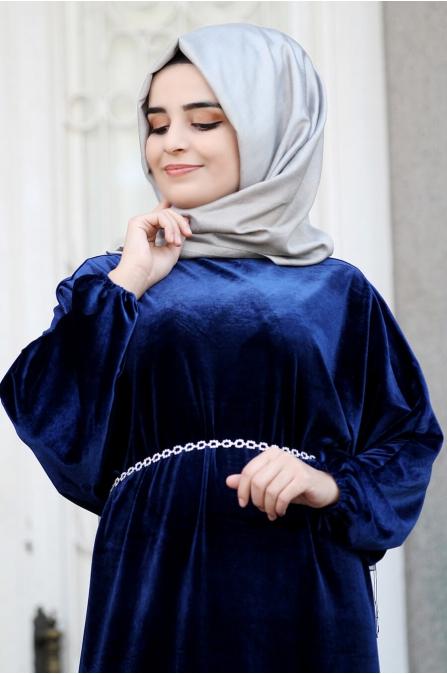 Yarasa Kollu Kadife Elbise - Lacivert - Sümay Moda