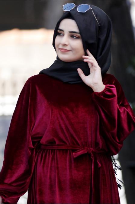 Yarasa Kadife Elbise - Bordo - Sümay Moda