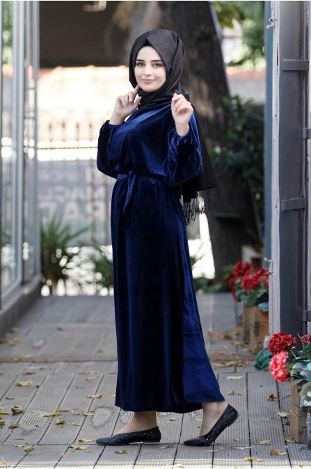 Yarasa Kadife Elbise - Lacivert - Sümay Moda