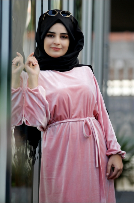 Yarasa Kadife Elbise - Pudra - Sümay Moda