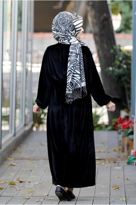 Yarasa Kadife Elbise - Siyah - Sümay Moda