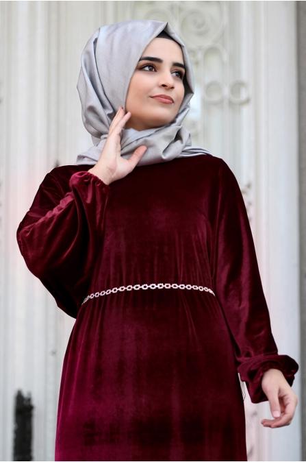 Yarasa Kollu Kadife Elbise - Bordo - Sümay Moda