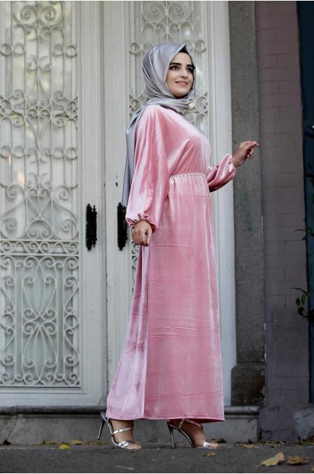 Yarasa Kollu Kadife Elbise - Pudra - Sümay Moda