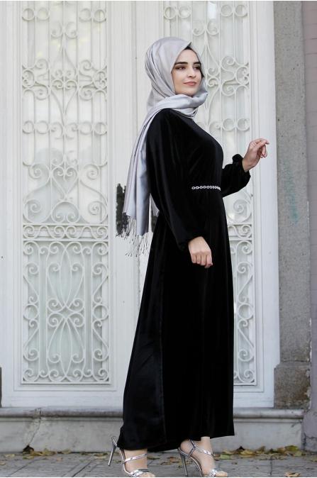 Yarasa Kollu Kadife Elbise - Siyah - Sümay Moda