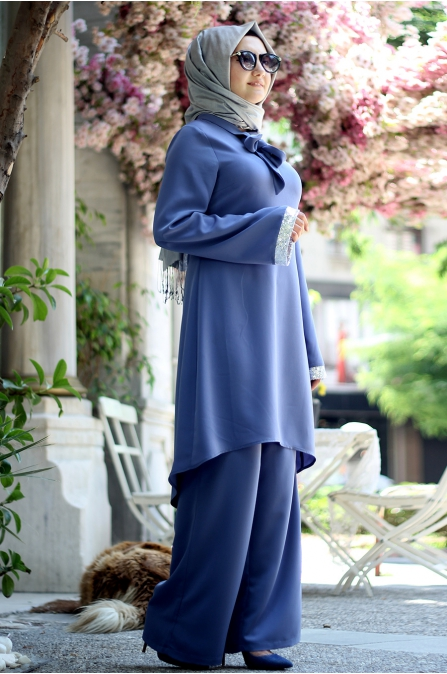 Sümay - Elit Pantolon Tunik Takım - Mavi