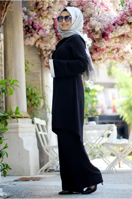 Sümay - Elit Pantolon Tunik Takım - Siyah