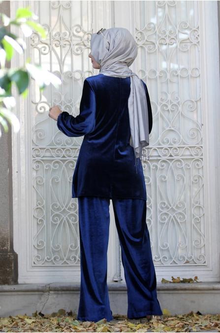 Kadife ikili Takım - Lacivert - Sümay Moda