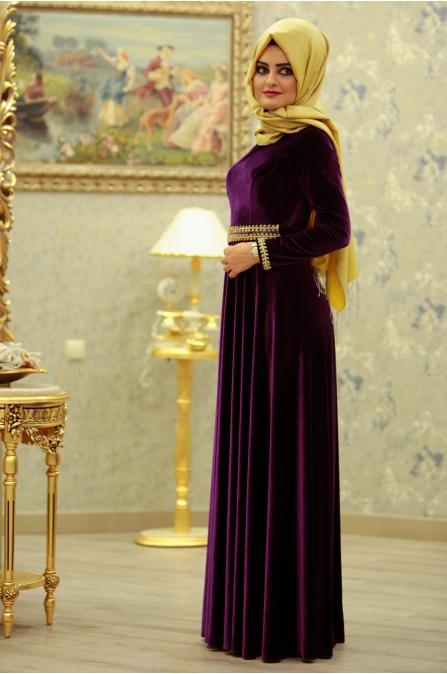 Leydi Kadife Abiye - Mor - Sümeyra Aksu