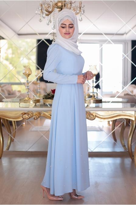 Buse İncili Elbise - Buz mavisi - Sümeyra Aksu