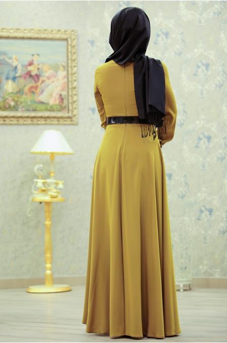 Linsa Elbise - Asit Yeşili - Sümeyra Aksu