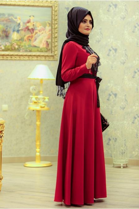 Nisa Elbise - Kırmızı - Sümeyra Aksu