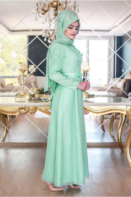 Peril Dantel Elbise - Mint - Sümeyra Aksu