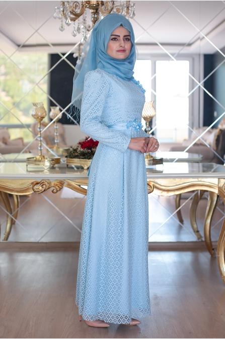 Peril Dantel Elbise - Buz Mavi - Sümeyra Aksu