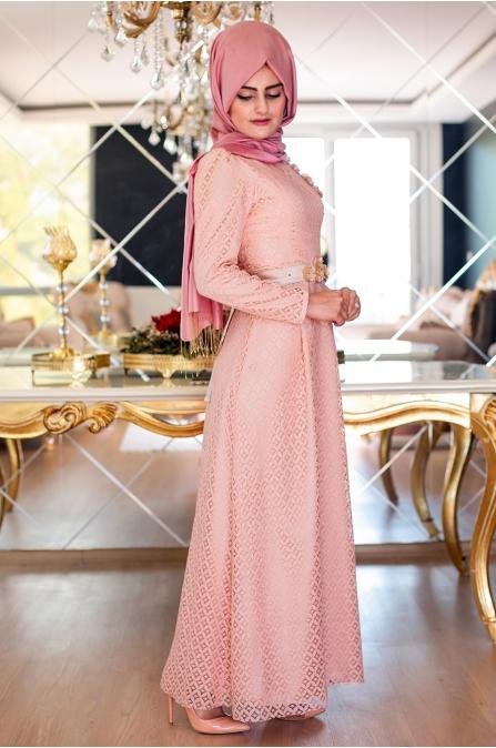 Perin Dantel Elbise - Pudra - Sümeyra Aksu