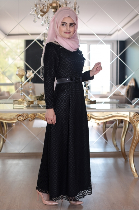 Perin Dantel Elbise - Siyah - Sümeyra Aksu