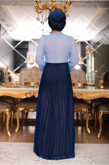 Hasret Tesettür Elbise - Lacivert - Sümeyra Aksu
