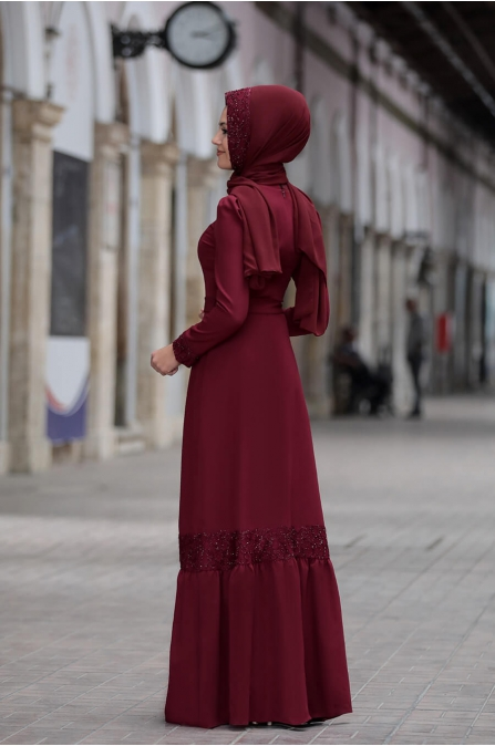 Buket Elbise - Bordo - Sure Tesettür