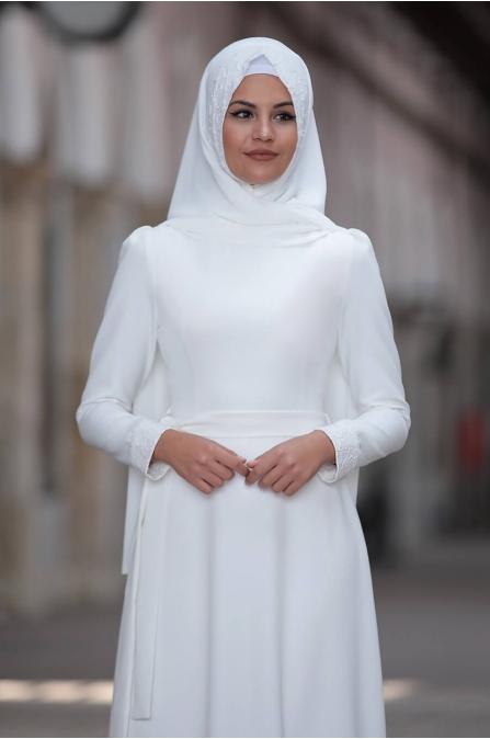 Buket Elbise - Ekru - Sure Tesettür