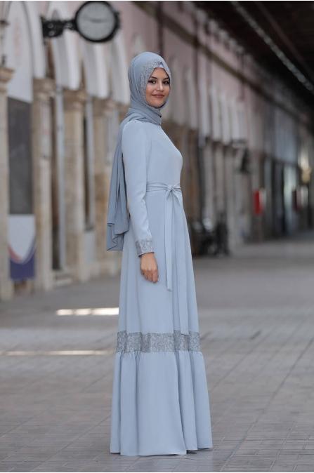 Buket Elbise - Gri - Sure Tesettür