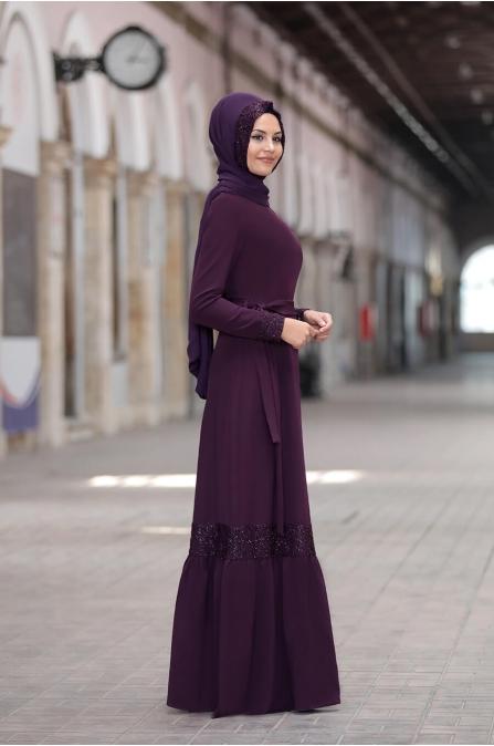 Buket Elbise - Mürdüm - Sure Tesettür