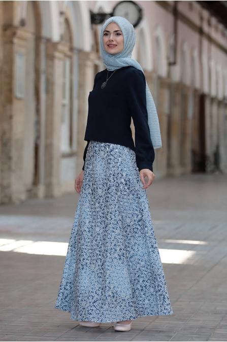 Hilal Etek Bluz Takım - Lacivert - Sure Tesettür