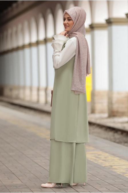 Yelek Pantolon Takım Çağla Yeşili - Sure Tesettür