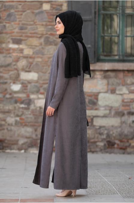 Simay Ceket Pantolon Bluz Takım - Gri