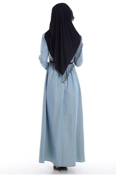 Fırfırlı Yaka Detaylı Elbise
