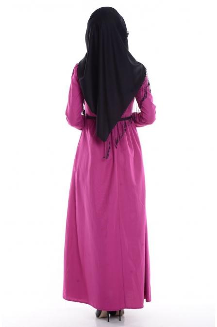 Fırfırlı Yaka Detaylı Elbise - Fuşya