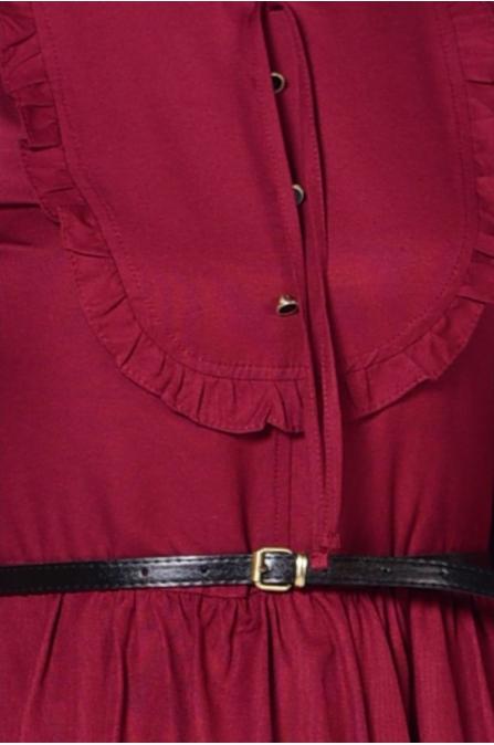 Fırfırlı Yaka Detaylı Elbise - Bordo