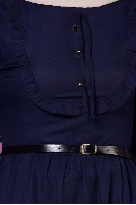 Fırfırlı Yaka Detaylı Elbise - Lacivert