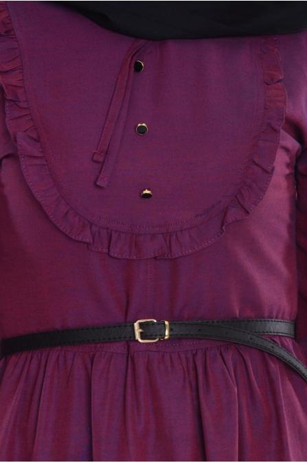 Fırfırlı Yaka Detaylı Elbise - Mürdüm