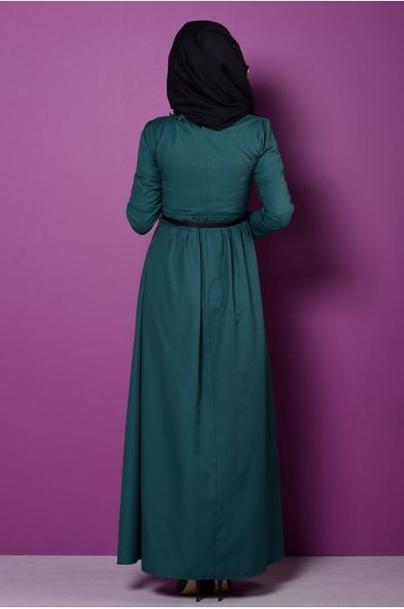 Fırfırlı Yaka Detaylı Elbise - Zümrüt