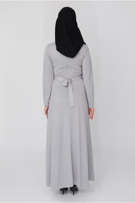 Düğme Detaylı İncili Elbise - Gri