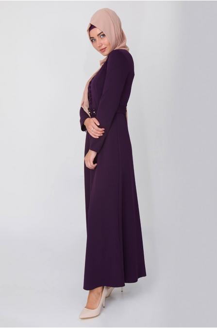 Düğme Detaylı İncili Elbise - Mor