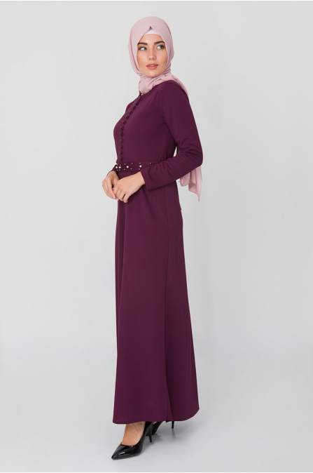 Düğme Detaylı İncili Elbise - Mürdüm