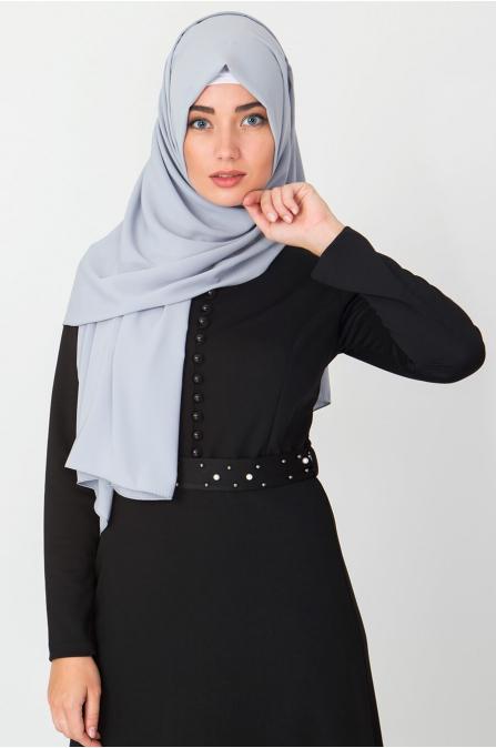 Düğme Detaylı İncili Elbise - Siyah