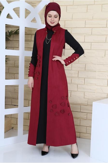 Yelek Görünümlü Süet Elbise - Bordo
