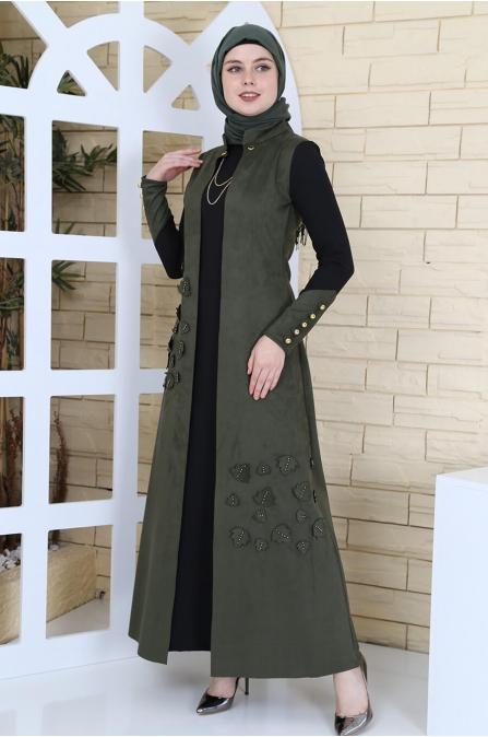 Yelek Görünümlü Süet Elbise - Haki