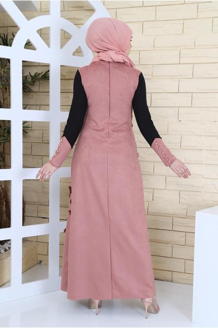 Yelek Görünümlü Süet Elbise - Lila