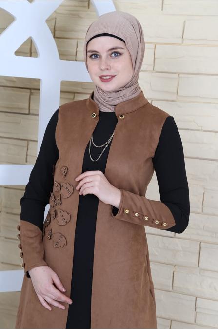 Yelek Görünümlü Süet Elbise - Taba