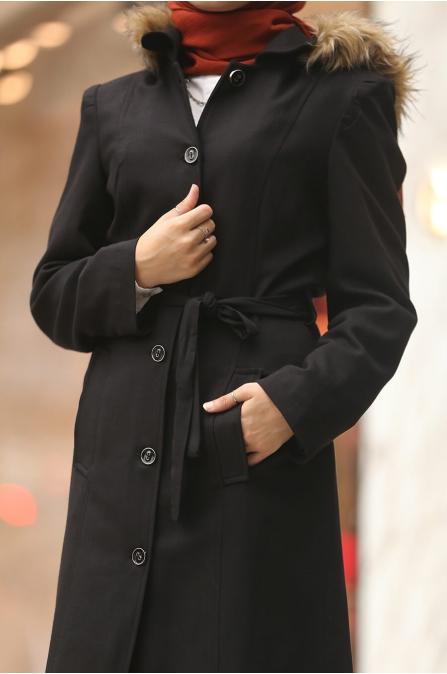 Kapşonu Kürklü Trenç - Siyah