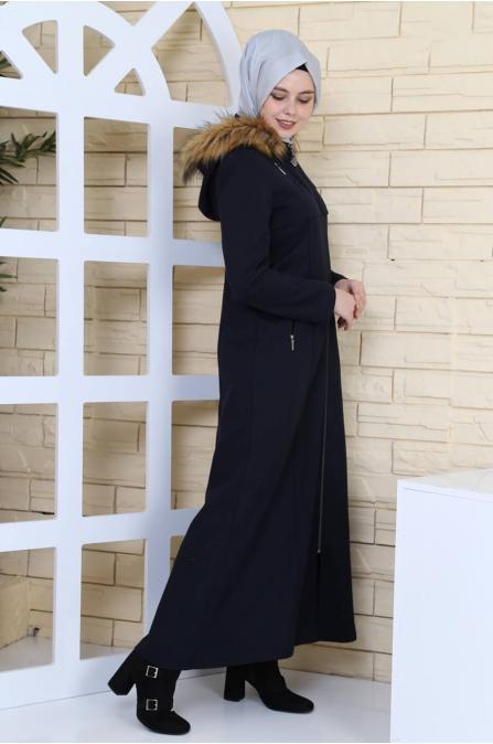 Leyla Kapşonlu Kaşe Kaban - Lacivert